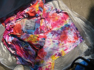 t-shirt pile after dyeing
