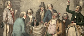 Wine Tasters A group of men tasting wine in a cellar. Original Artwork: Lithograph by Jacott from a painting by JP Hasenclever (Photo by Hulton Archive/Getty Images) -- Image Date: 01/01/1800