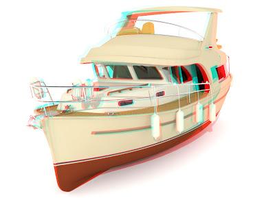 jacht Ramona 37: 3D anaglif red cyan, obrazy 3D