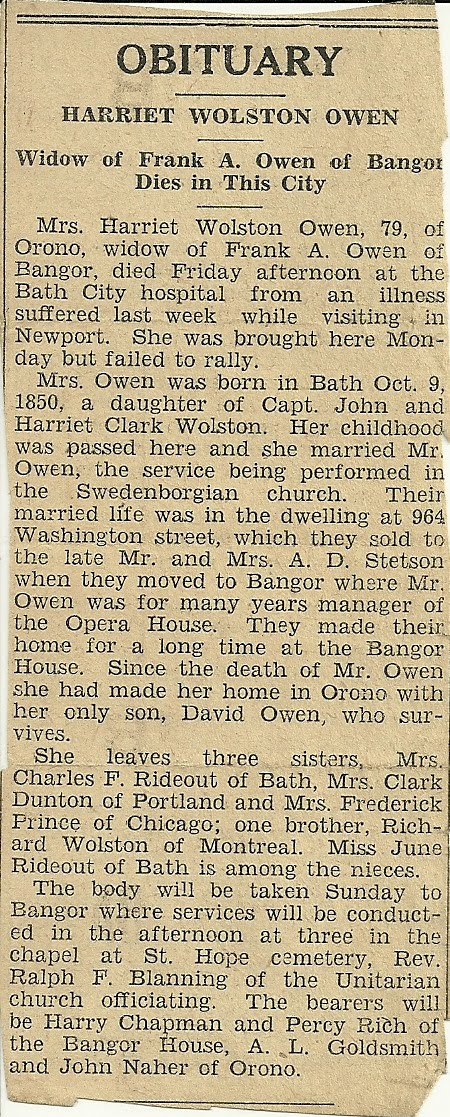 Circa 1929 Obituary In A Bath, Maine, Newspaper On The Death Of Harriet  Wolston Owen, Widow Of Frank A. Owen, Manager For Many Years Of The Opera  House In ...