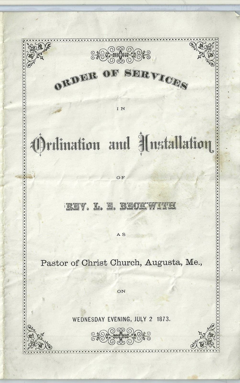 Heirlooms reunited 1873 ordination installation program for 1873 ordination installation program for loring everett beckwith at augusta maine thecheapjerseys Images