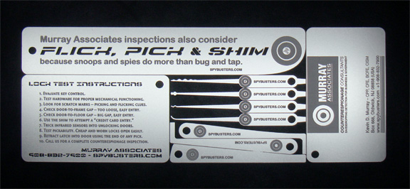 Kevin39s security scrapbook the anna chapman spy contest for Lockpick business card