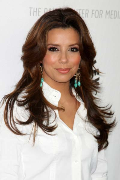 eva longoria long layered hairstyle april