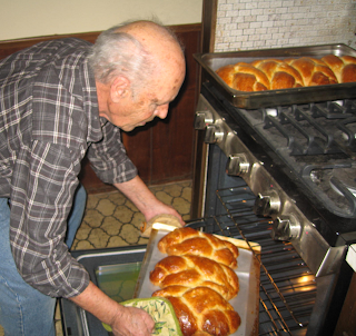 cooking Greek bread