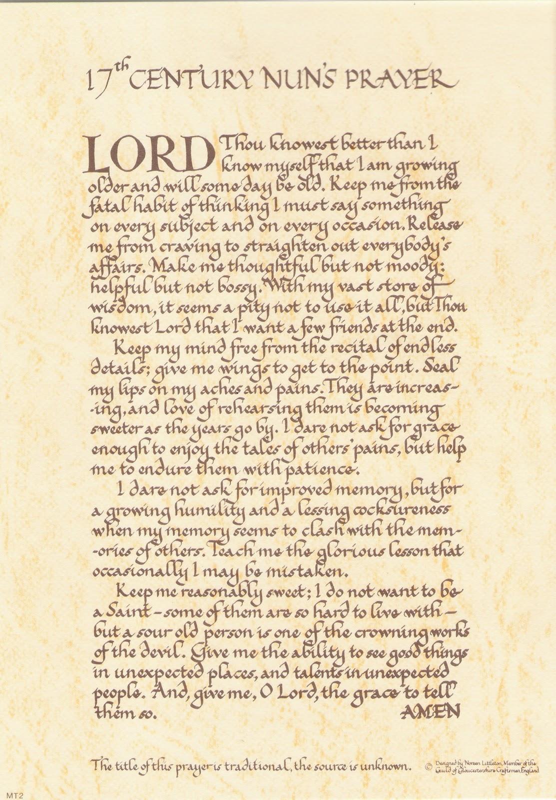 random musings from a doctor s chair a 17th century nun s prayer