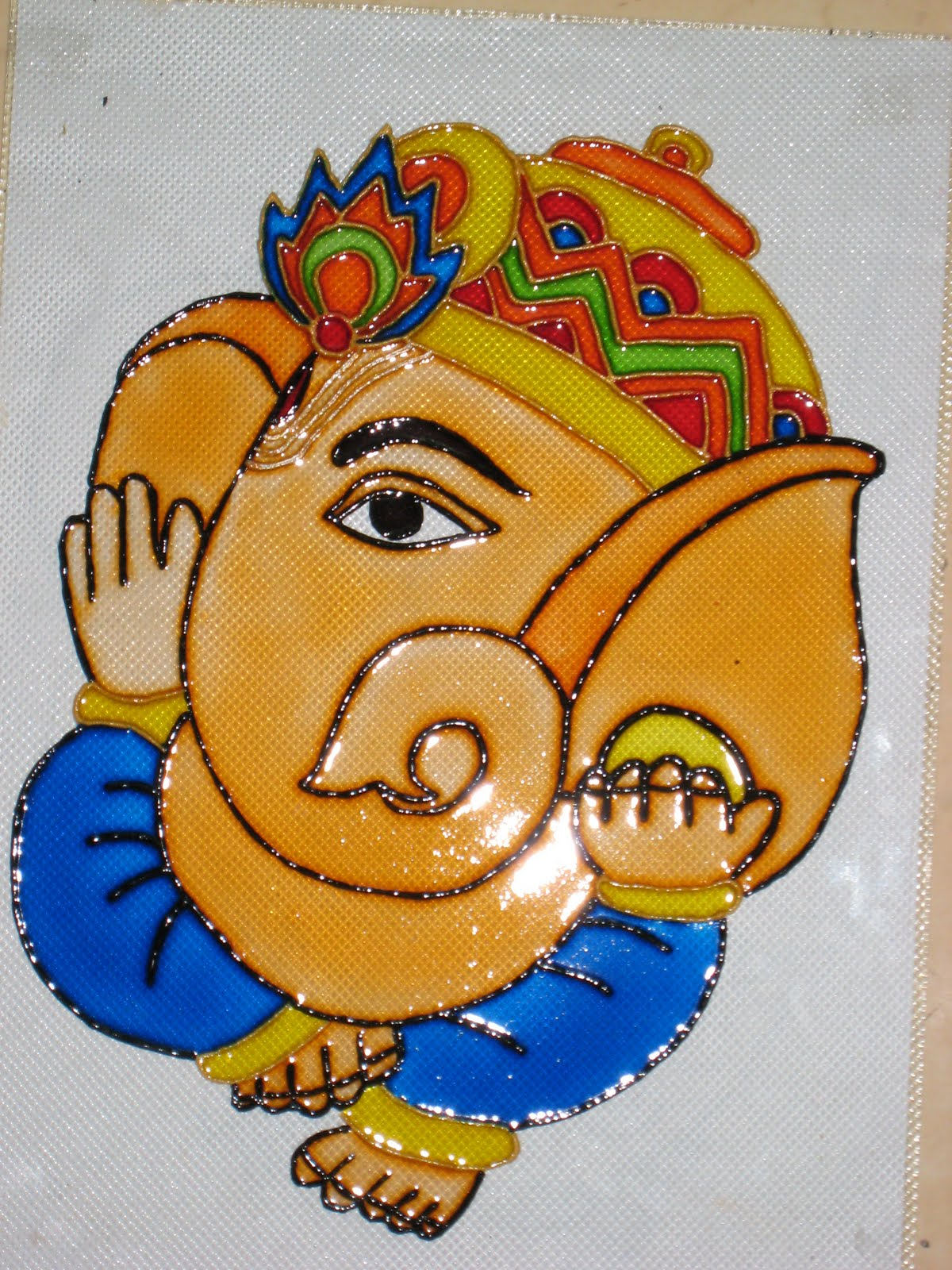Simple glass painting designs ganesh for Simple glass painting pictures