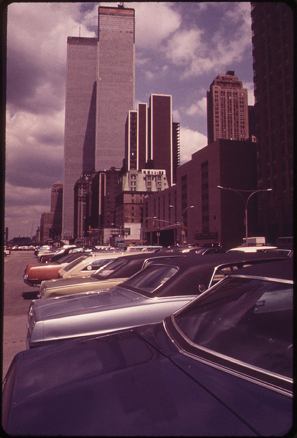 The U.S. National Archives - The Newly Constructed Towers of the World Trade Center Seen From the South Side on West Street 05-1973