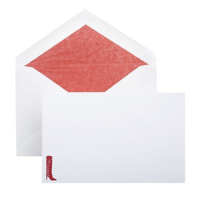smythson notecards with red stiletto boot motif