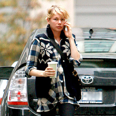 michelle williams in blue plaid shirt dress