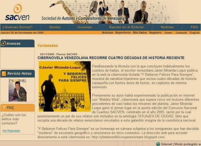RESEÑADO EN WEBPAGE DE SACVEN.ORG