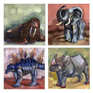"Oil on canvas 5x5"" each - SOLD"