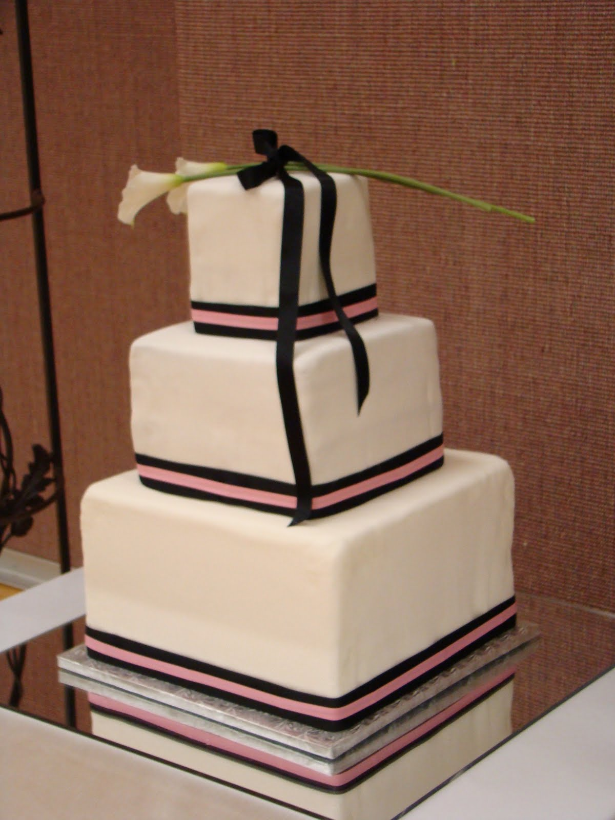 Valerie s Cakes Pink and Black square wedding cake