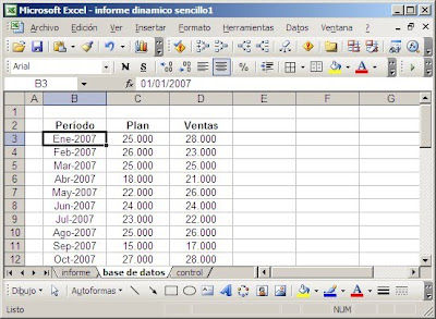 base de datos en hoja Excel