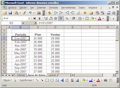 base de datos en hoja Excel