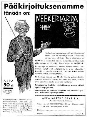 Neekeriarpa-mainos vuodelta 1944