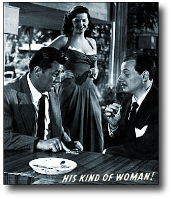 Robert Mitchum, Jane Russell ja Philip Van Zandt  ovat Rikosten rajoilla (His Kind of Woman, 1951) - copyright Warner Bros.