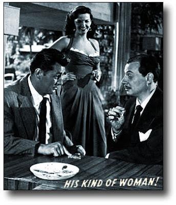 Robert Mitchum, Jane Russell ja Philip Van Zandt  ovat Rikosten rajoilla (His Kind of Woman, 1951) - copyright Warner Bros.