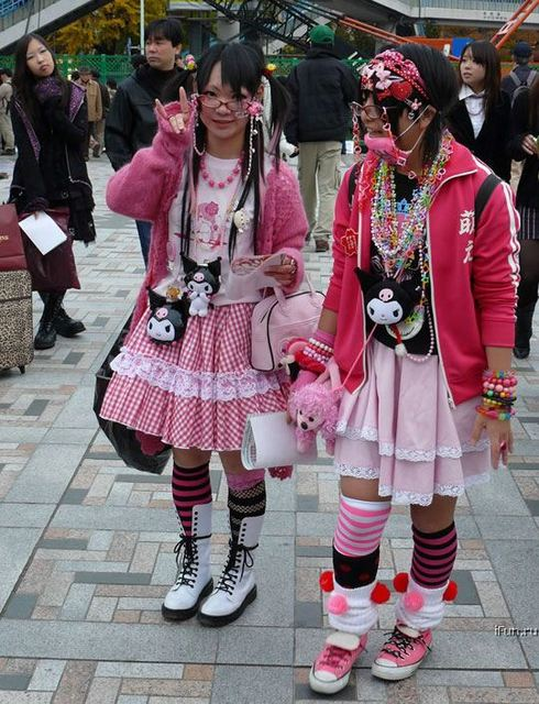 Japanese emo, emo hairstyle in fashion by wearing a pink dress that looked