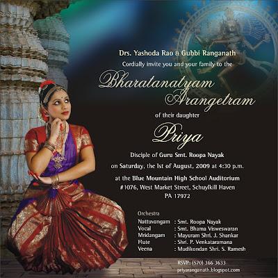 Bharatanatyam Arangetram Invitation Wording Bharatnatyam On