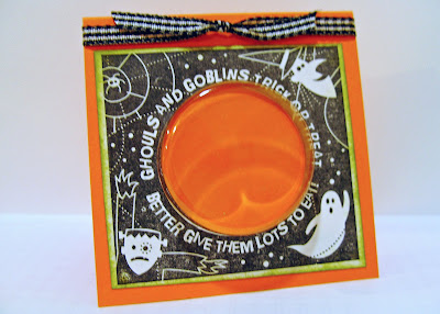 Rubber stamped Halloween treat card