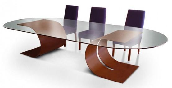 Mesas de comedor de vidrio con bases muy originales | Luxury ...