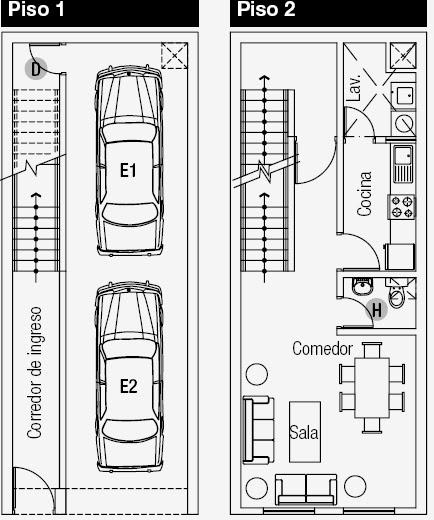 Planos de vivienda de 3 niveles en de terreno for Distribucion apartamento 50 m2