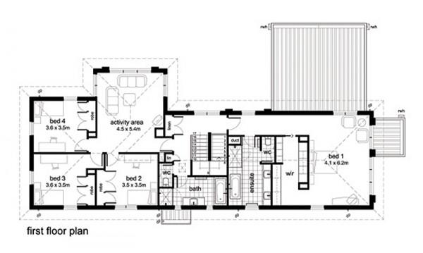 Interior Design Plano De Casa Moderna De 4 Habitaciones Y