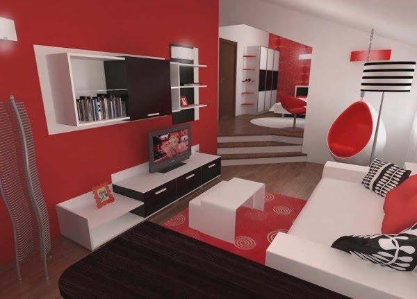 Decoración Dormitorio en 3D de colores rojo y blanco con sala de