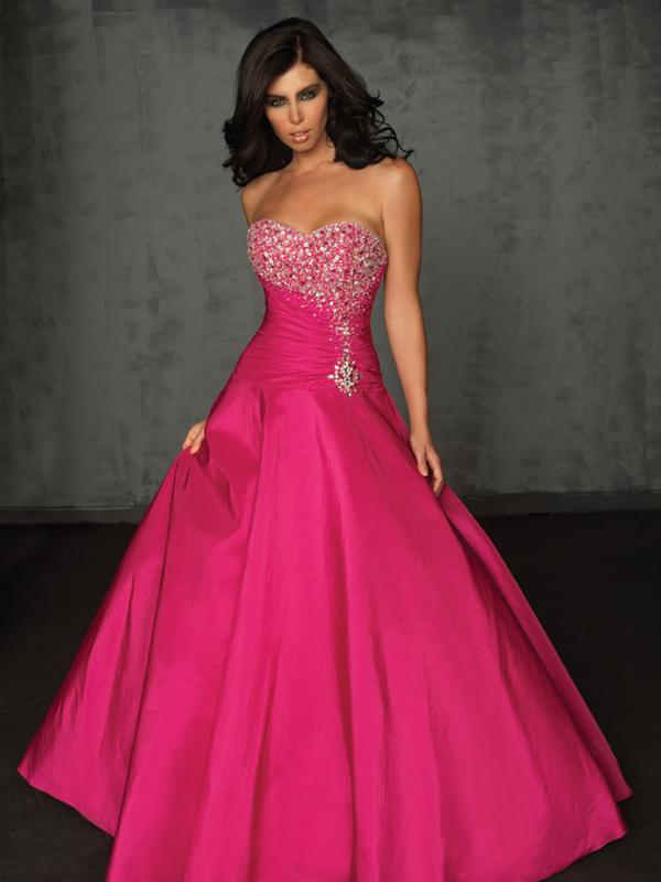 Fabuloso vestido de noche strapless de color fucsia : Vestidos para ...