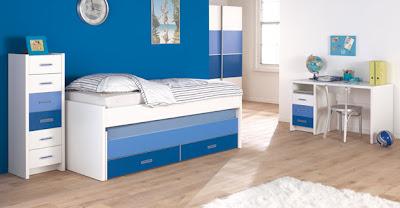 dormitorio infantil minimalista azul