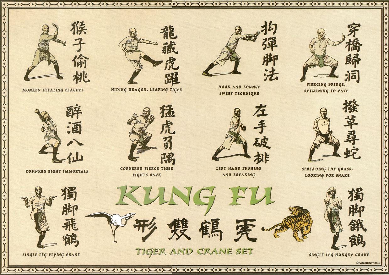 Kung Fu placemat - Tiger and Crane set | Johnny Mac Studios
