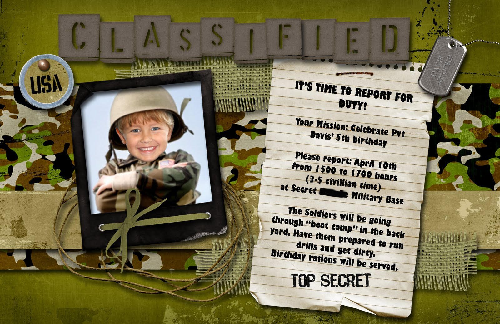 Kids Military Birthday Invitation Orderecigsjuice Info