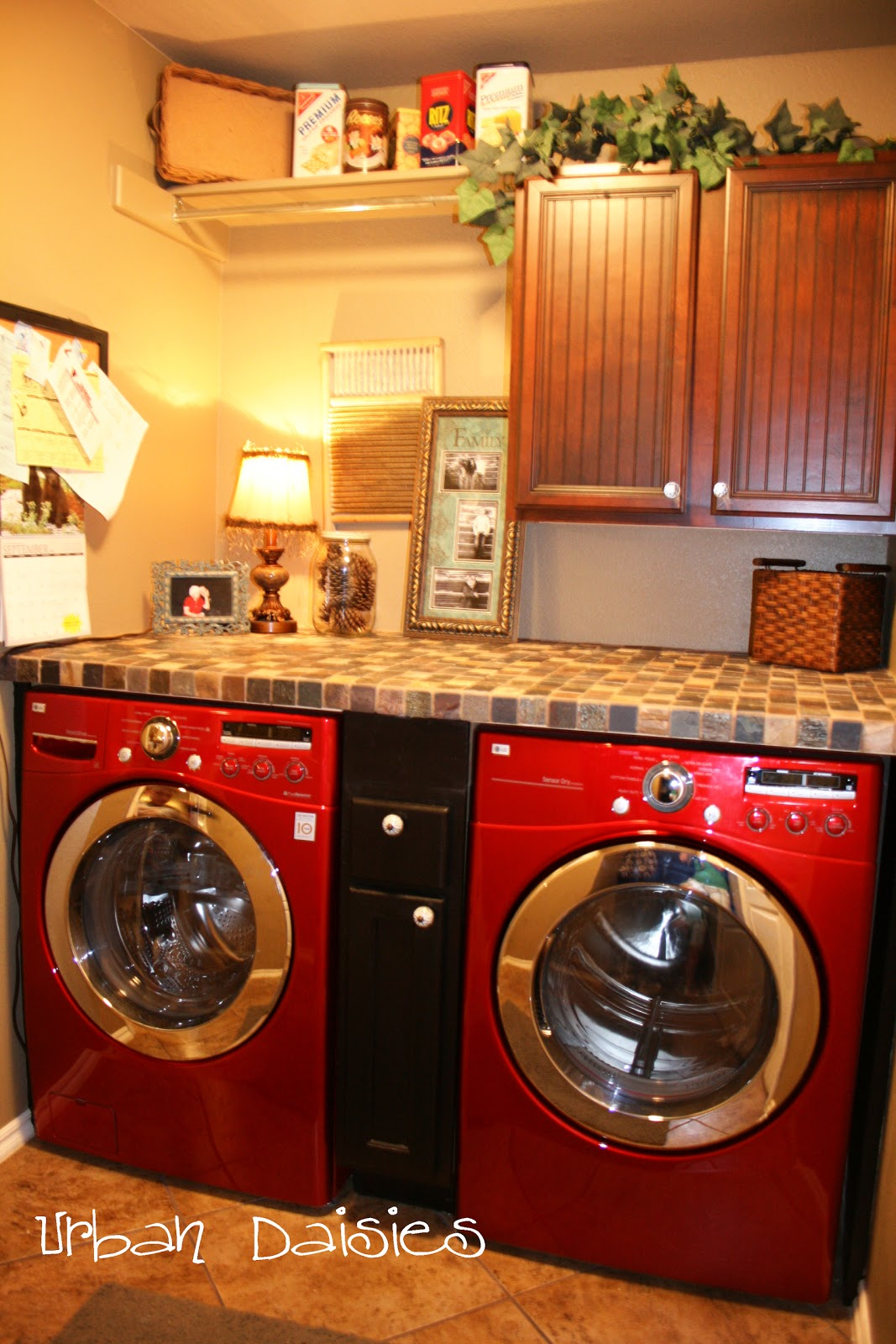 Urban daisies laundry room redo for Washer and dryer in kitchen ideas