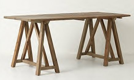 Dose of design love it sawhorse table Sawhorse desk legs