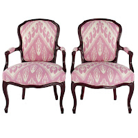 Pair Mid-Century Louis XV style in pink ikat $3,200