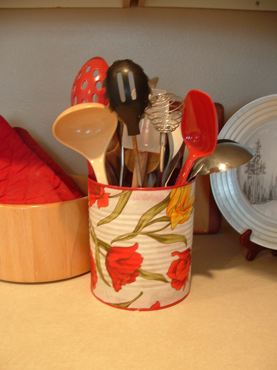 Pieces By Polly Fabric Covered Cans More Red For My Kitchen
