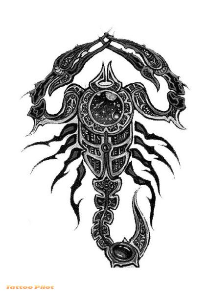 Tribal Scorpion Tattoo Design Post Cards by doonidesigns