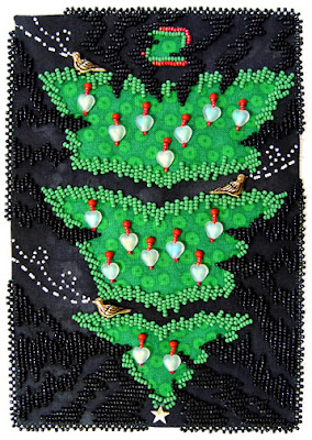 bead embroidery by Robin Atkins, bead journal project, December 07