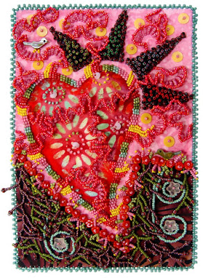 bead embroidery by Robin Atkins, bead journal project, January piece