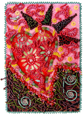 bead embroidery by Robin Atkins, self portrait, bead journal project, January 2008