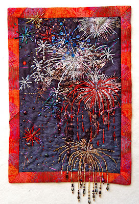Thom Atkins, beaded quilt, bead journal project, July, Bombs Bursting in Air