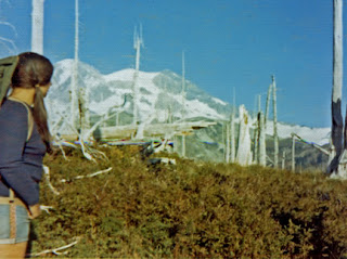 Robin Atkins hiking the Wonderland Trail around Mt. Rainier in 1973