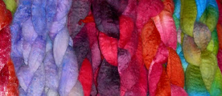 Hand-dyed fibers for spinning, by Janel