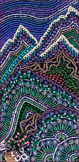 improvisational bead embroidery by Robin Atkins, detail from framed piece
