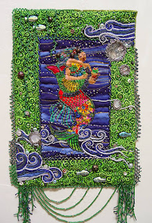 bead embellished quilt by Thom Atkins, Laurel's Mermaid