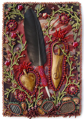 bead embroidery, improvisational, by robin atkins, bead artist, bead journal project for October, title is Respect