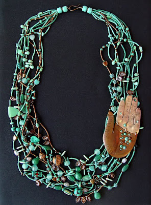 bead necklace with copper and sterling hand by Robin Atkins