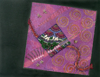 bead embroidery on felt collaged on painted paper by Robin Atkins, bead journal project