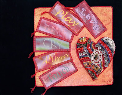 bead embroidery collage, bead journal project for February, by Robin Atkins
