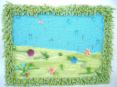 bead embroidery by Lisa Criswell, title: Springtime in Heaven